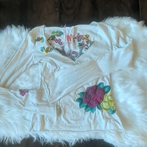 Johnny was embroidered floral bird long sleeve top